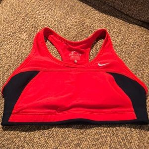 Nike bra top red and black size small sports bra